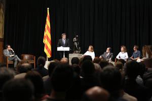 El president Puigdemont, en un moment de la seva intervenció