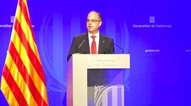El portaveu del Govern, Jordi Turull, avui a la roda de premsa posterior a la reunió del Govern