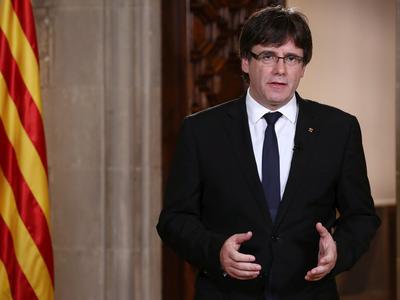 El president de la Generalitat durant la seva declaració institucional al Palau de la Generalitat