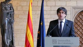 El president, durant la declaració institucional. Autor: Rubén Moreno