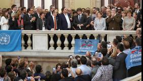 El president Puigdemont, en un moment del seu missatge