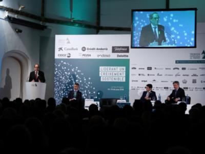 El president Torra durant la seva intervenció a la Trobada empresarial al Pirineu