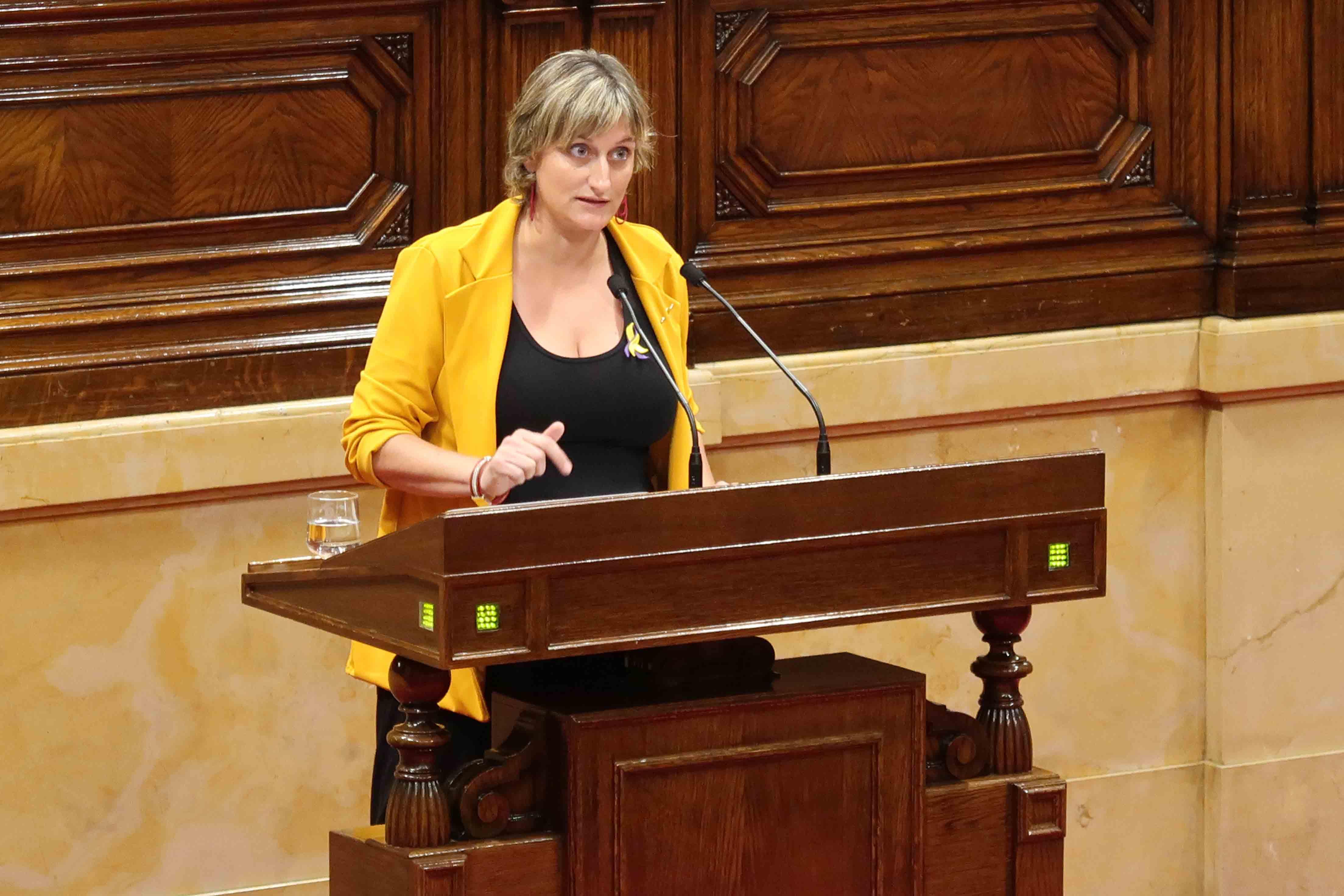 La consellera de Salut durant la seva intervenció al Parlament.