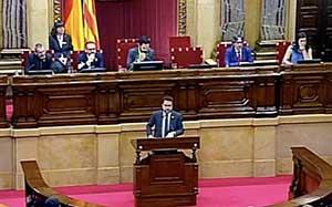 Fotografia del vicepresident responent a la interpel·lació al Parlament