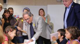 El president Torra, acompanyat del conseller Bargalló, ha inaugurat la nova escola El Far (Fotografia: Jordi Bedmar)