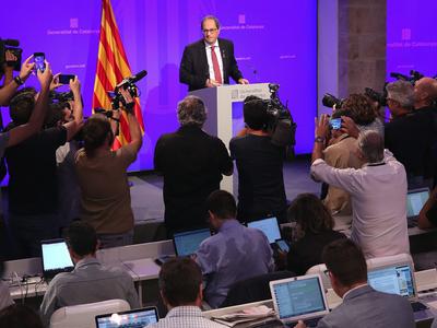 Foto de la roda de premsa del president Torra (Jordi Bedmar)