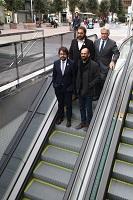 Fotografia de dalt a baix i d'esquerra a dreta: Julià Fernàndez, delegat del Govern de la Generalitat de Catalunya a Barcelona, Pere Mateu, director de Projectes d'FGC, Ricard Font, president d'FGC, i Maties Serracant, alcalde de Sabadell.