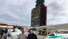 Isidre Gavín amb la CEO de BAA training a Alguaire