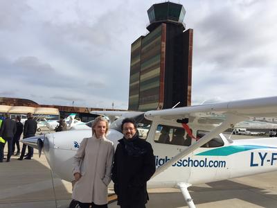 Isidre Gavín amb la CEO de BAA training a l'aeroport Lleida-Alguaire