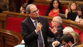 El president Torra, en un moment de la seva intervenció. Autor: Jordi Bedmar
