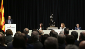 El president Torra durant la seva intervenció a l'acte del 125è aniversari del naixement del Cardenal Vidal i Barraquer (Foto: Rubén Moreno)