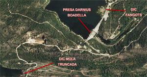 Planta general de la presa de Darnius Boadella i dels dos dics de tancament.