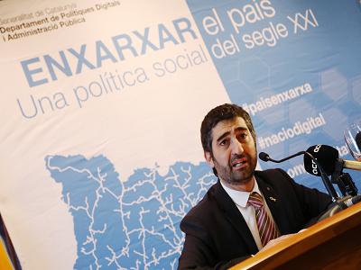 El conseller Puigneró a la presentació de l'ampliació del desplegament de la xarxa de fibra òptica pública a la comarca del Segrià