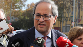 El president, fent declaracions als mitjans. Autor: Rubén Moreno