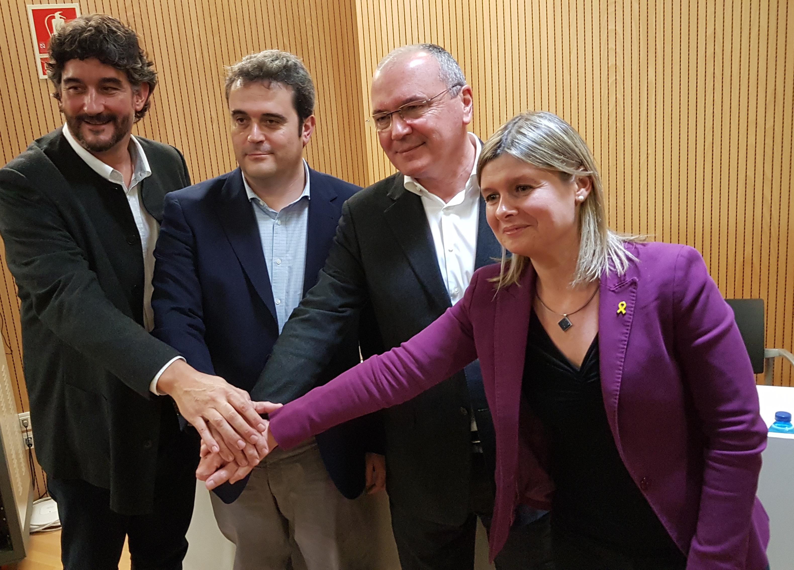 D'esquerra a dreta: Ramon Descarrega, gerent de la Regió Sanitària del Camp de Tarragona; Adrià Comella, director del Servei Català de la Salut (CatSalut); Carles Pellicer, alcalde de Reus; i Noemí Llauradó, presidenta de l'Hospital de Reus.