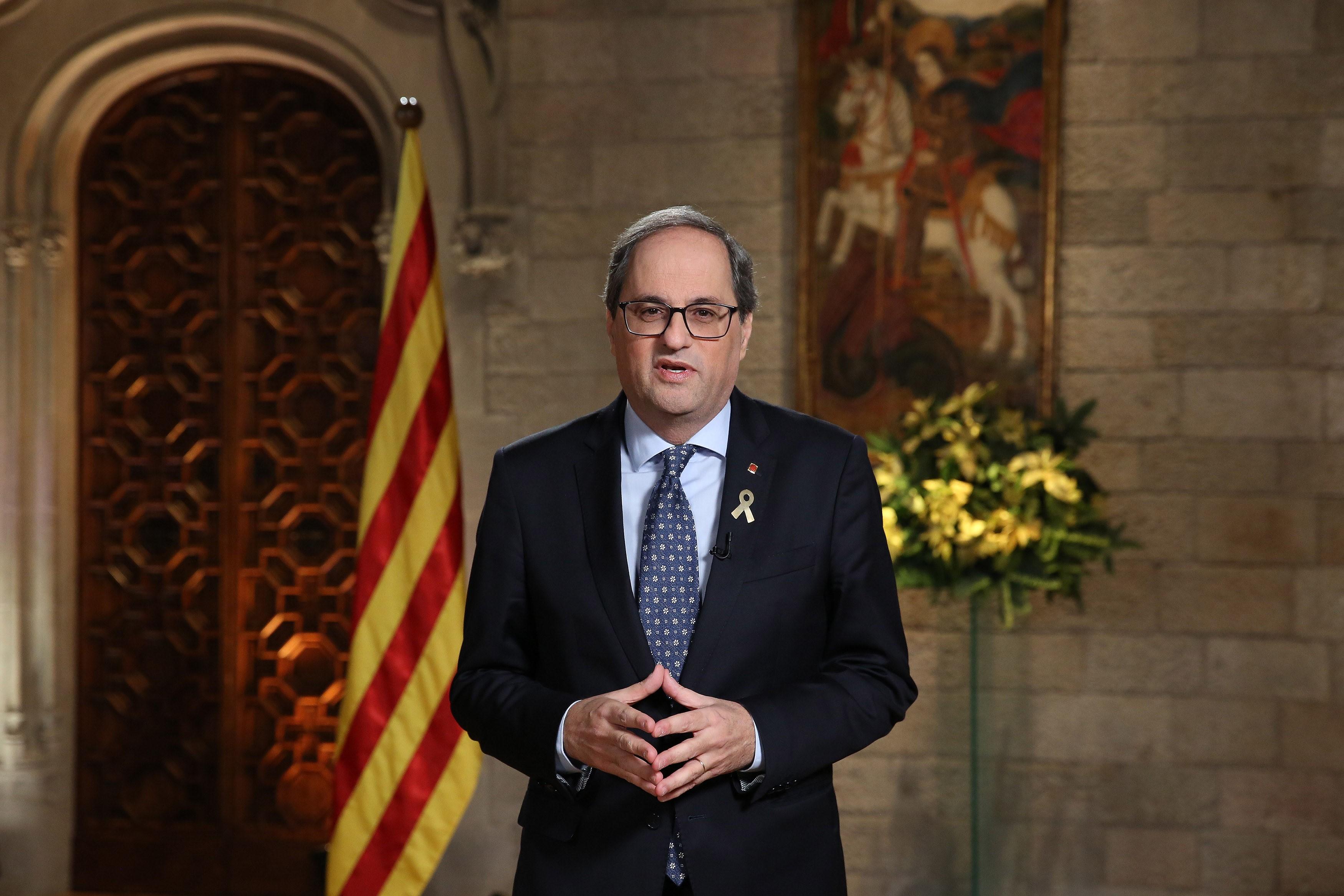 El president ha pronunciat el missatge des del Saló Mare de Déu de Montserrat (Autor: Jordi Bedmar)