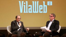 El president Torra durant un col·loqui organitzat per Vilaweb (foto: Ruben Moreno)