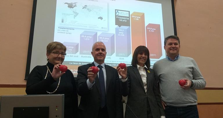 Un moment de la roda de premsa, avui, amb Teresa Pont, Jaume Tort, Marta Chandre i Jordi Albà