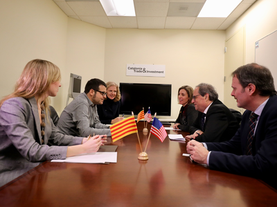 El president i la consellera Chacón reunits amb els responsables d'Scopely (Autor: Rubén Moreno)
