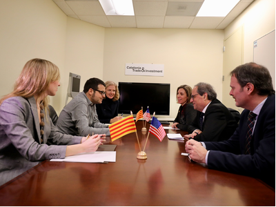 President Torra and Minister Chacón at a meeting with Scopely executives