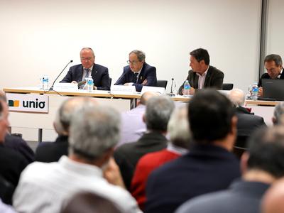 El president Torra a la cloenda de l'assemblea general de socis del Grup Unió (Foto: Ruben Moreno)