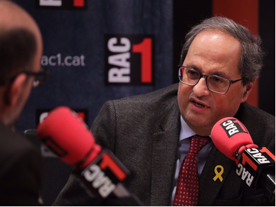 President Quim Torra during the interview on RAC1 (photo: Rubén Moreno)