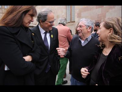 El president Torra amb Joan Pera, la consellera Borràs i de la presidenta de l'Acadèmia de Cinema Català