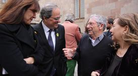 El president Torra amb Joan Pera, la consellera Borràs i Isona Passola