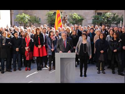 El president Quim Torra durant l'acte de suport als presos polítics i les seves famílies
