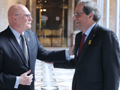 President Torra met with the top managers of GSMA, the company in charge of organising the Mobile World Congress, at the Palau de la Generalitat.
