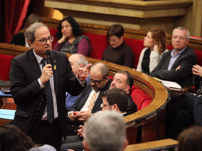 El president intervenint en la sessió de control. (Autor: Rubén Moreno)