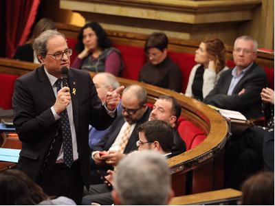 President Quim Torra speaking at a parliamentary control session.
