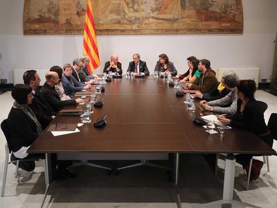 El president s'ha reunit amb els membres del Consell assessor per a l'impuls del Fòrum Cívic i Social pel Debat Constituent. Autor: Rubén Moreno