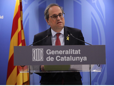 Preside Quim Torra gives a press conference at the Blanquerna Cultural Centre in Madrid
