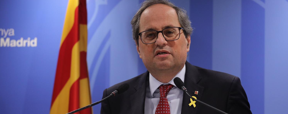 President Torra gives a press conference at the Blanquerna Cultural Centre in Madrid