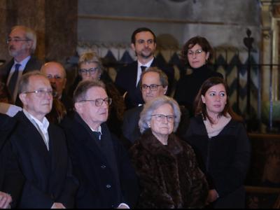 El president Torra i la presidenta Armengol, al funeral. Autor Ruben Moreno
