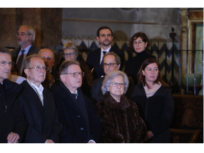 El president Torra i la presidenta Armengol, al funeral