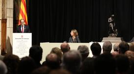 El president Torra i la consellera Chacón a l'acte de lliurament de les medalles Narcís Monturiol (Foto: Jordi Bedmar)