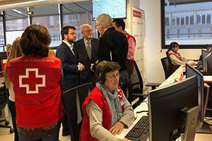 Fotografia de la visita del vicepresident Aragonès a la Creu Roja