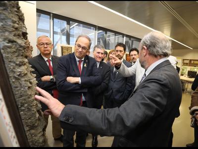 El president Torra, durant la visita a l'Institut Cartogràfic i Geològic de Catalunya. Autor: Rubén Moreno