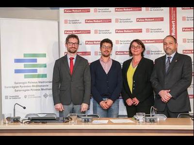 El director de l'Euroregió Pirineus Mediterrània, Xavier Bernard-Sans; el director general d'Energia i Canvi Climàtic del Govern de les Illes Balears, Ferran Rosa; a vicepresidenta de la Région Occitanie, Agnès Langevine; i el director de l'ICAEN, Manel Torrent