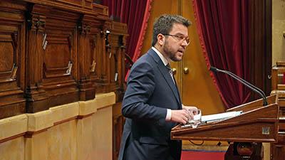 Fotografia del vicepresident Aragonès durant la seva compareixença al Parlament