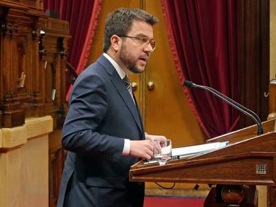 Fotografia del vicepresident durant la seva compareixença al Ple del Parlament