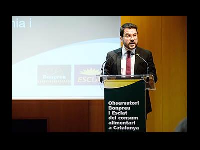 Fotografia del vicepresident Aragonès durant la seva intervenció