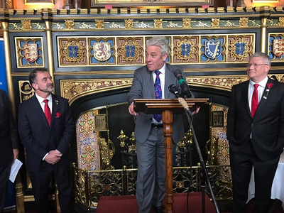 The speaker of the British Parliament, John Bercow, with Minister Alfred Bosch and the vice chair of the APPG on Catalonia, Andrew Rosindell