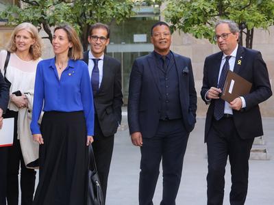 El president i la consellera, amb el president de Fira de Barcelona i el director general de l'ISE. Autor: Jordi Bedmar