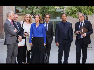 El president i la consellera, amb el president de Fira de Barcelona i el director general de l'ISE