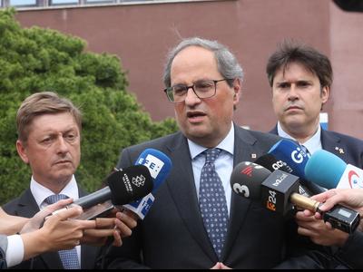 El president, durant l'atenció als mitjans. Autor: Rubén Moreno