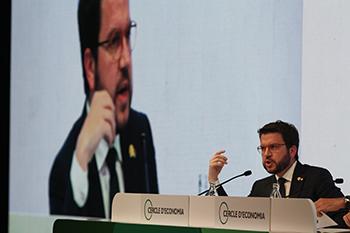 El vicepresident Aragonès durant la seva intervenció a les Jornades del Cercle d'Economia