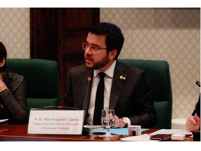 El vicepresident Aragonès durant la seva intervenció en la Comissió d'Economia i Hisenda